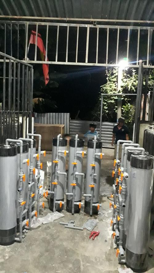 Bộ lọc nước phèn bằng cột nhựa pvc ở long an,lọc sạch phèn, mùi tanh hôi